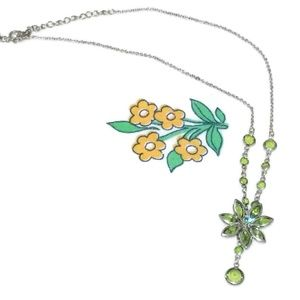 Jewelry - Vintage Green Rhinestone Flower Necklace